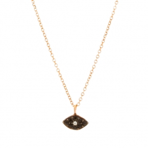 Necklace gold Κ14 with black spinels - My Gold