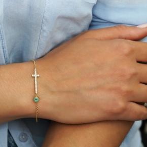Bracelet gold K14 with zirconia and enamel - My Gold