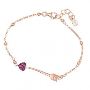 Bracelet silver 925 lenght 16,5 cm (with extra 2cm exte), pink gold plated and red zirconia