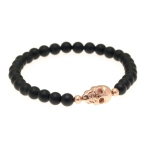 Bracelet silver 925 with matt onyx and pink gold plated