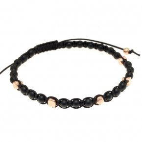 Bracelet silver 925 with black cord, matt onyx and pink gold plated
