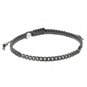 Bracelet silver 925 with grey cord and black rhodium