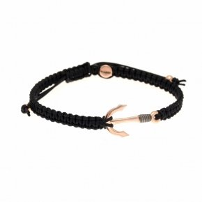 Bracelet silver 925 with black cord and pink gold plated