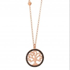 Chain necklace silver 925, pink gold plated and black spinels