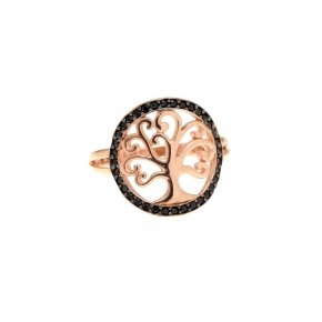Ring silver 925 pink gold plated, and black spinels