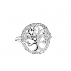 Ring Silver 925, rhodium plated witth white zirconia