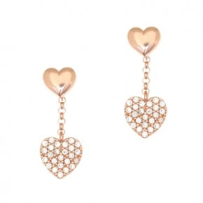 Earrings silver 925, pink gold plated and white zirconia