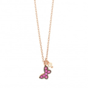 Necklace with chain silver 925, pink gold plated, red zirconia and fresh water pearls