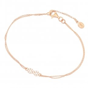 Bracelet with chain silver 925, pink gold plated, and white zirconia