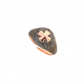 Ring silver 925 pink gold plated and black rhodium