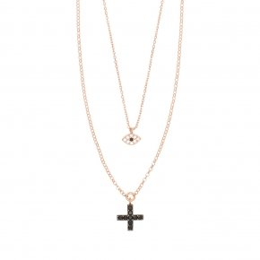 Necklace with chain silver 925, pink gold plated, with white zirconia and black spinels
