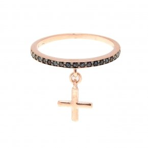 Ring silver 925 pink gold plated with black spinels