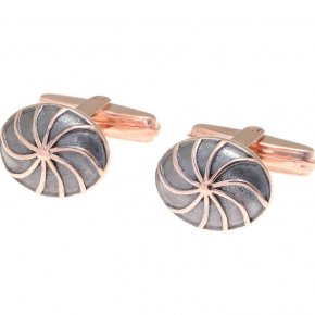 Cufflinks silver 925 pink gold plated and black rhodium