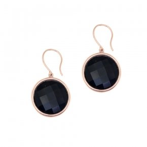 Earrings silver 925 pink gold plated and black crystals