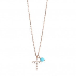 Chain necklace silver 925, pink gold plated, zirconia and synthetic stones