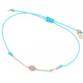 Bracelet with cord silver 925, pink gold plated, fresh water pearls and turquoise zirconia