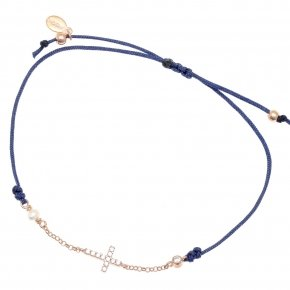 Bracelet with cord silver 925, pink gold plated, fresh water pearls and white zirconia