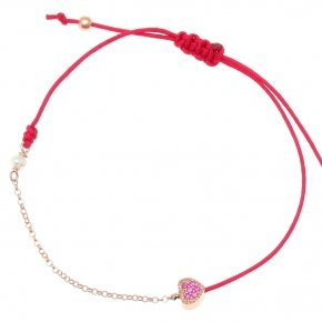 Bracelet with cord silver 925, pink gold plated, fresh water pearls and red zirconia