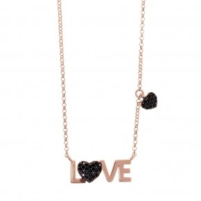 Necklace silver 925 lenght 40 cm (with extra 5cm exte) pink gold plated and black spinels