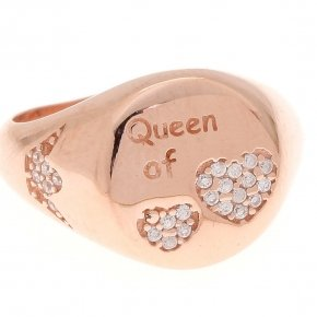 "Ring silver 925 pink gold plated and white zirconia ""queen of hearts"""