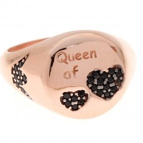 "Ring silver 925 pink gold plated and Black spinels ""queen of hearts"""