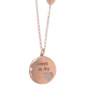 "Necklace silver 925 lenght 40 cm (with extra 5cm exte) pink gold plated and white zirconia ""always in my heart"""