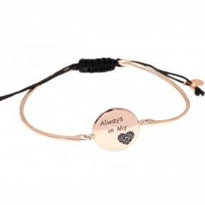 "Bracelet silver 925 pink gold plated and black spinels ""always in my heart"""