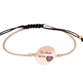 "Bracelet silver 925 pink gold plated and red zirconia ""to mum with love"""