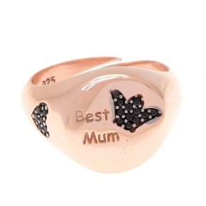 "Ring silver 925 pink gold plated and Black spinels ""best mum"""