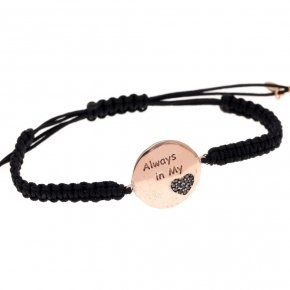 "Bracelet silver 925 macrame pink gold plated and black spinels ""always in my heart"""