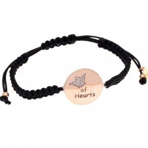 "Bracelet silver 925 macrame pink gold plated and white zirconia ""queen of hearts"""