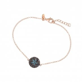 Bracelet silver 925 lenght 16,5 cm (with extra 2cm exte), pink gold plated, black spinels and turquoise stones