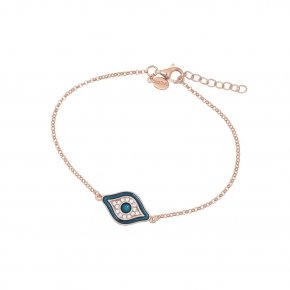 Bracelet silver 925 lenght 16,5 cm (with extra 2cm exte), pink gold plated, enamel and white zirconia