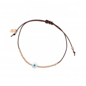 Bracelet silver 925 with cord, pink gold plated and evil eye