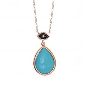 Necklace silver 925 lenght 40 cm (with extra 5cm exte), pink gold plated, black spinels and turquoise stones