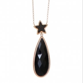 Necklace silver 925 long lenght 80 cm pink gold plated, black spinels and black crystal