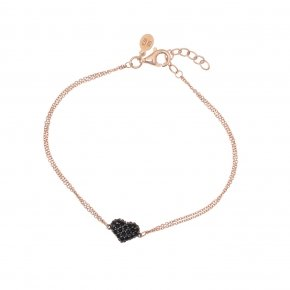 Bracelet silver 925 lenght 16,5 cm (with extra 2cm exte), pink gold plated and black spinels