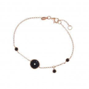 Bracelet silver 925, pink gold plated and black zirconia