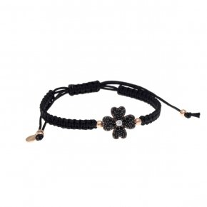 Bracelet silver 925, pink gold plated, black cord and black zirconia