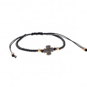 Bracelet silver 925 with two color cord macrame, pink gold plated and black spinels