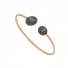 Bracelet silver 925 pink gold plated, black spinels and turquoise stones