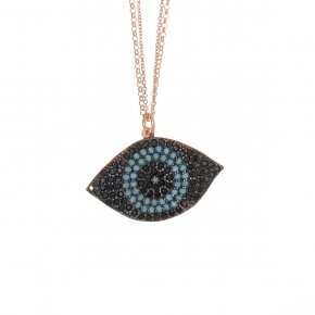 Necklace in silver 925 pink gold plated with onyx, black and turquoise zirconia