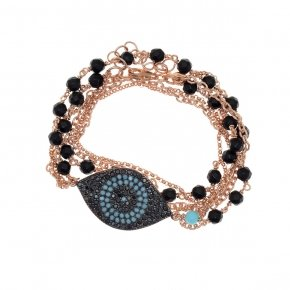 "Bracelet silver 925 double, lenght 35 cm (with extra 4cm exte), pink gold plated, black spinels and turquoise stones, can be worn as a ""choker"""