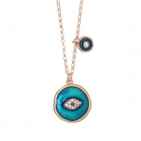 Necklace silver 925 lenght 40 cm (with extra 5cm exte), pink gold plated, white zirconia and enamel