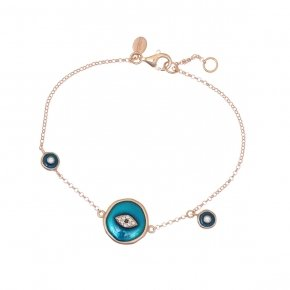 Bracelet silver 925 lenght 16,5 cm (with extra 2cm exte), pink gold plated, white zirconia and enamel