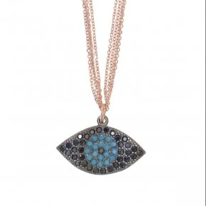 Necklace silver 925 lenght 40 cm (with extra 5cm exte), multiple chain, pink gold plated, black spinels and turquoise stones