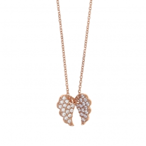 Necklace silver 925 lenght 40 cm (with extra 5cm exte), pink gold plated and white zirconia