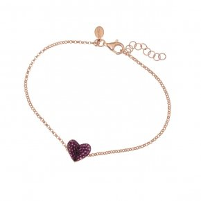 Bracelet in silver 925 pink gold plated with red zirconia