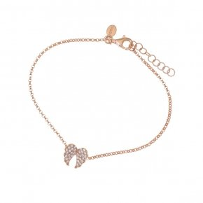 Bracelet in silver 925, pink gold plated with white zirconia