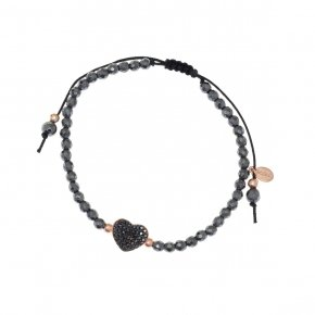 Bracelet silver 925 pink gold plated hematite and black spinels